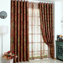 Europe Luxurious Double sided Printed tulle Window Curtains For living Room/Bedroom Blackout drapes Floral Home Decor