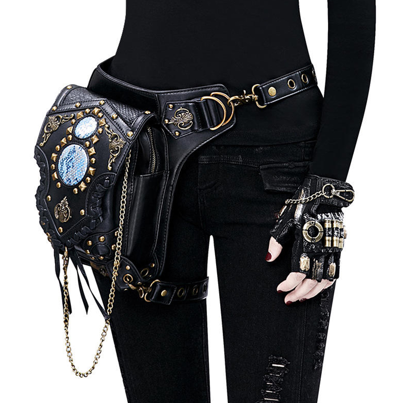 Leg Bag Leather Women Men Steampunk Bags Gothic Messenger Handbag Shoulder Bag Vintage Fashion Retro Rock Waist Pack  Pouch Bags