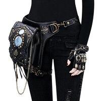 Leg bag leather Women men Steampunk Bags Gothic Messenger Handbag Shoulder Bag Vintage Fashion Retro Rock Waist Pack Pouch Bags
