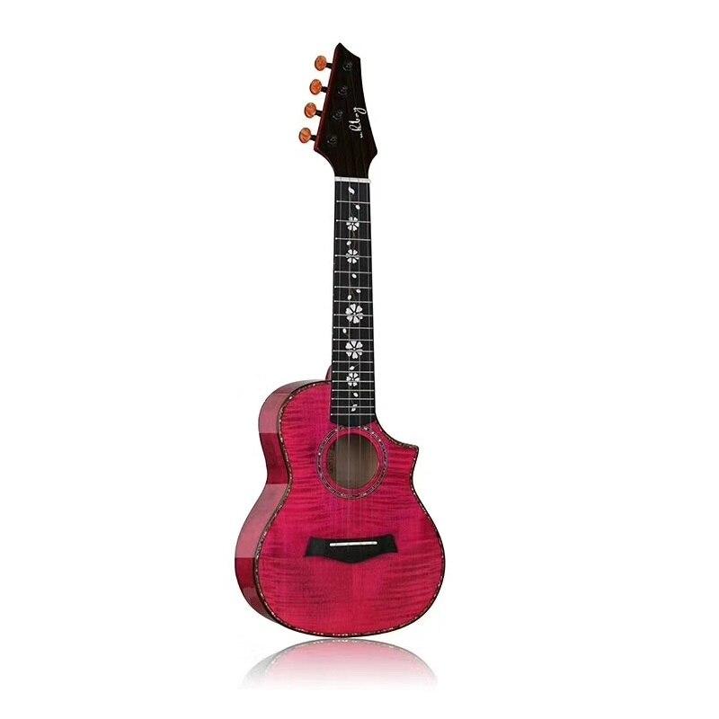 Tout bois massif ramasser ukulélé pick-up acajou bois massif Uklele 26 pouces bovin os écrou petite guitare couleur claire Hawaii guitare