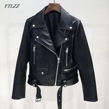 FTLZZ Новая Осенняя Женская куртка из искусственной кожи, женская короткая куртка на молнии с поясом, женская черная куртка-бомбер в стиле панк, верхняя одежда из искусственной кожи