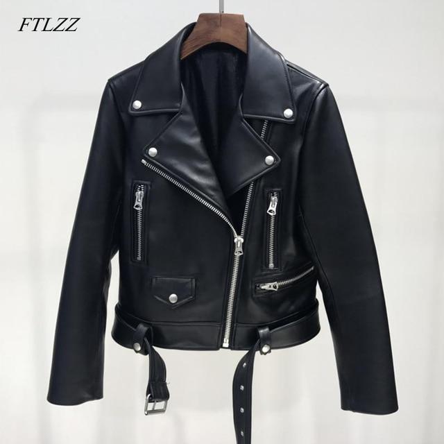 FTLZZ Mới Mùa Thu Phụ Nữ Pu Áo Khoác Da Người Phụ Nữ Vành Đai Dây Kéo Áo Khoác Ngắn Nữ Đen Punk Máy Bay Ném Bom Giả Da Outwear