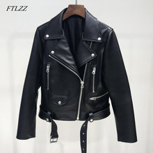 FTLZZ New Autumn Women Pu Leather Jacket Woman Zipper Belt Short Coat Female Black Punk Bomber Faux Leather Outwear(China)