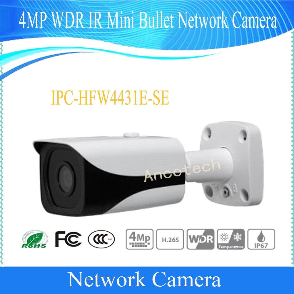 Frete Grátis DAHUA Câmera IP de Vigilância 4MP DH-IPC-HFW4431E-SE IP67 WDR IR Mini Rede Câmara Bullet Com POE