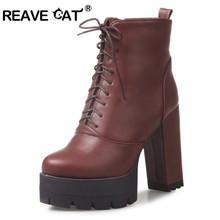 84b255e6 REAVE CAT botas para mujer tacones altos señoras moda botas Cruz-atado zapatos  de moda negro marrón gris más tamaño 33-43 A787
