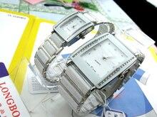 Mode Longbo Marque Strass Amant de quartz Femme Homme Couple Exquis d'affaires montre Blanc montre En Céramique dame de Montres