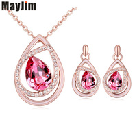 2017 Statement necklace Fashion Women Brand wedding gold chain Cubic Zirconia crystal pendant Necklaces & Pendant jewelry set