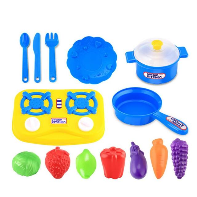 Elegant 15pcs Plastic Kids Children Kitchen Utensils Food Cooking Pretend Play Set Toy  Kitchen Toys Simulation Of