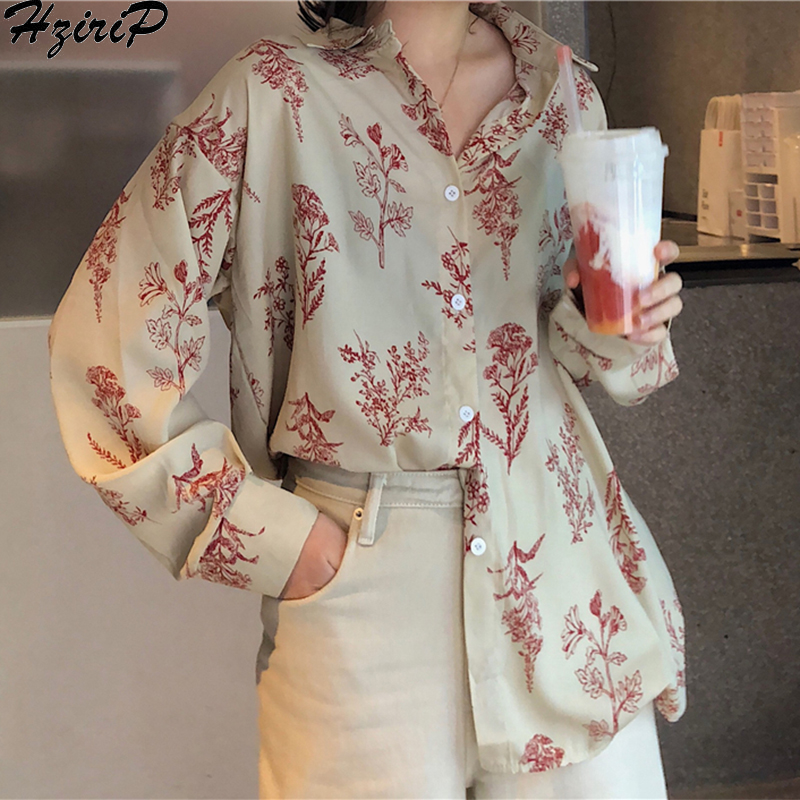 Hzirip 2019 New Spring Fashion Casual Long Sleeves Retro Slim Loose Single Breasted Fresh Blouse All-Match Print Free Shirts