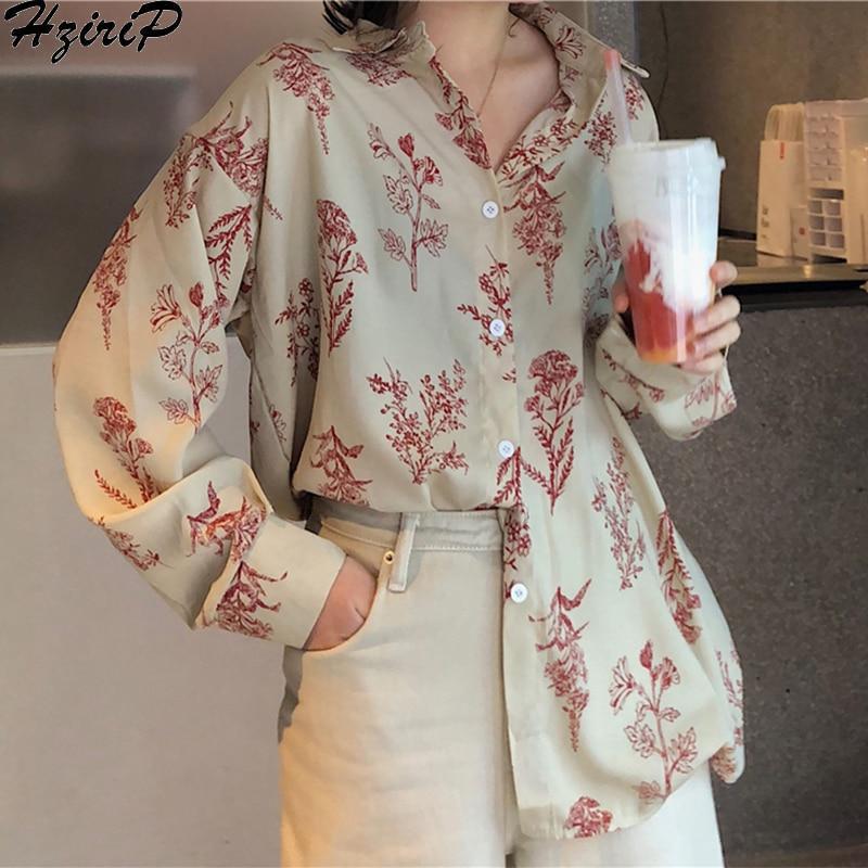 Hzirip 2019 New Spring Fashion Casual Long Sleeves Retro Slim Loose Single Breasted Fresh Blouse All-Match Print Free Shirts