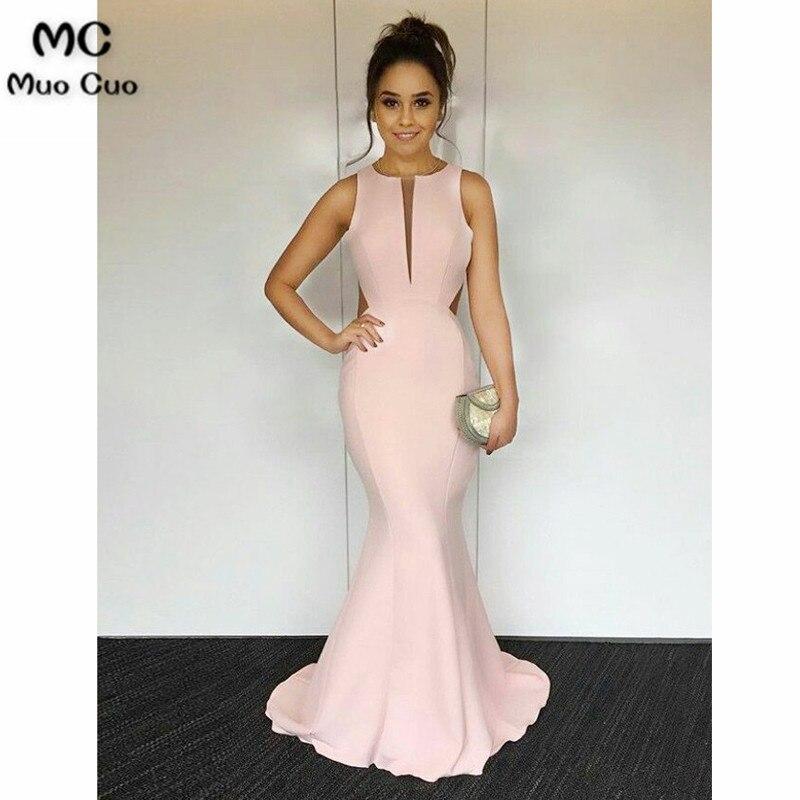 2018 Blush Pink Mermaid   Prom     dresses   Long Sleeveless Backless Vestidos de fiesta   dress   for graduation Formal Evening   Dress