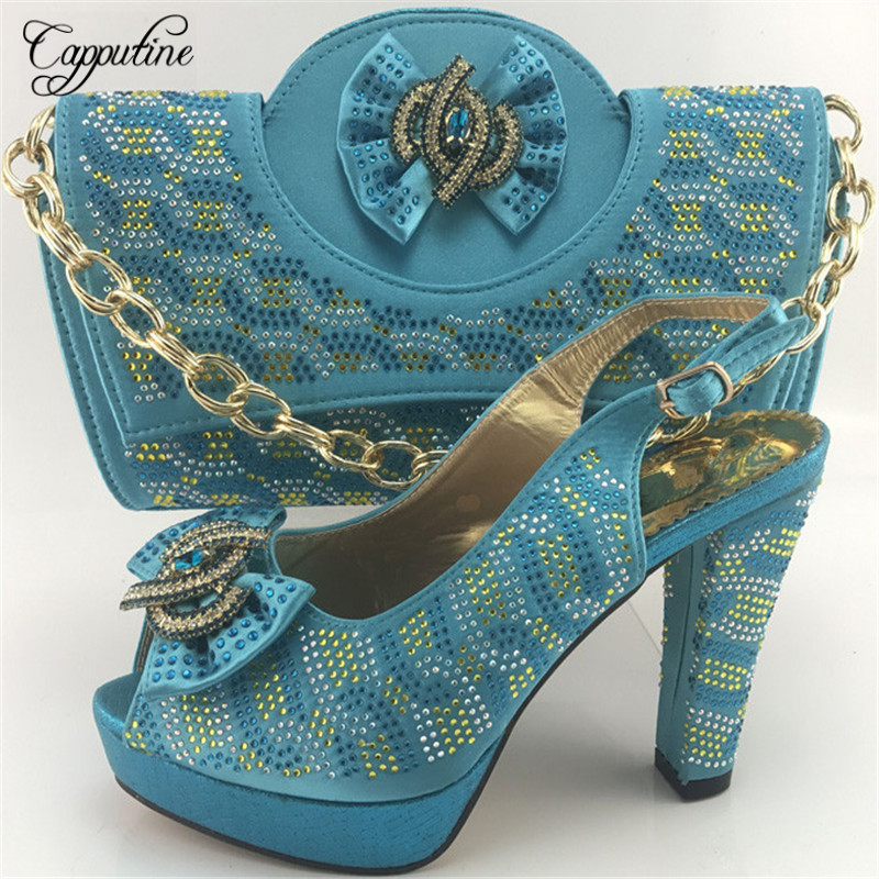 Capputine Free Shipping 2018 New African Ladies Shoes And Bag Set Italian Party Pumps Shoes And Purse Set For Wedding ME7715 capputine new summer sandals woman shoes 2017 fashion african casual sandals for ladies free shipping size 37 43 abs1115