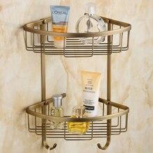 Мода старинные медные ванная комната полка меди корзина двойной слой антикварной углу полки gy525