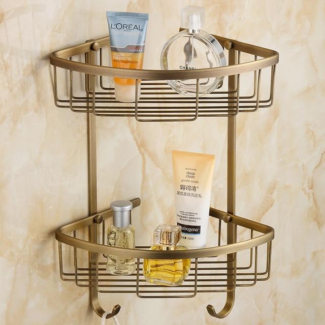 Fashion Copper Vintage Bathroom Shelf Basket Double Layer Antique Corner Gy525