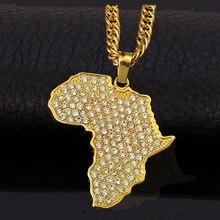 Plaqué or Africain De Mode Pendentifs pour les Femmes/Hommes Cadeau À La Mode Strass Afrique Carte Pendentif Collier Hiphop Hommes Bijoux H0047