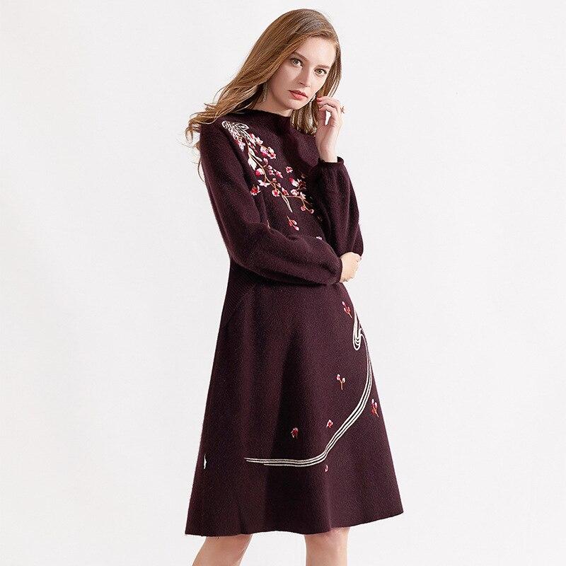 Renard Longues Purple red Cachemire Femmes Top Robe Automne Hiver Qualité Cheveux À Laine Nouvelle Luxueux Tricoté Manches Broderie 2018 Patchwork dark Black xS1Rqw6RFO