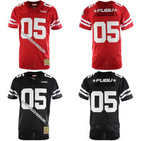 Mens #05 Fubu Black and Red with Patch Throwback Movie Basketball Jersey Stitched S 4XL