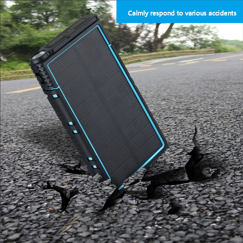 Outdoor Solar Power Bank Waterproof 20000mAh Solar Charger 2 USB Ports External Battery Charger Powerbank phone with LED Light