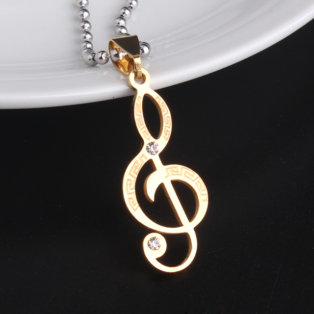 10pcslot Gold Color Music Symbol Great Wall 316l Stainless Steel