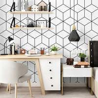 Nordique géométrique lattique 3D papiers peints noir vinyle blanc grille papier peint rouleau 3D pour salon fond Mural Papel Pintado