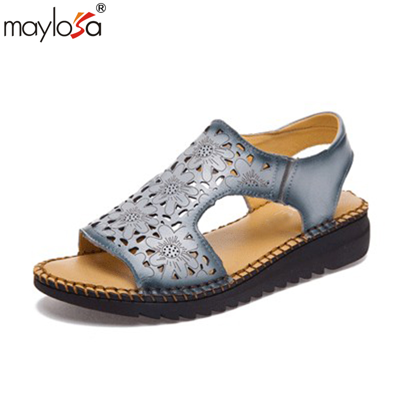 MAYLOSA Women Sandals Summer New Soft Bottom Flat Genuine Leathe Sandals  woman  Platform Thick Heel Sandals phyanic 2017 summer new women sandals with chain women buckle strap flat platform summer casual shoes woman phy3413