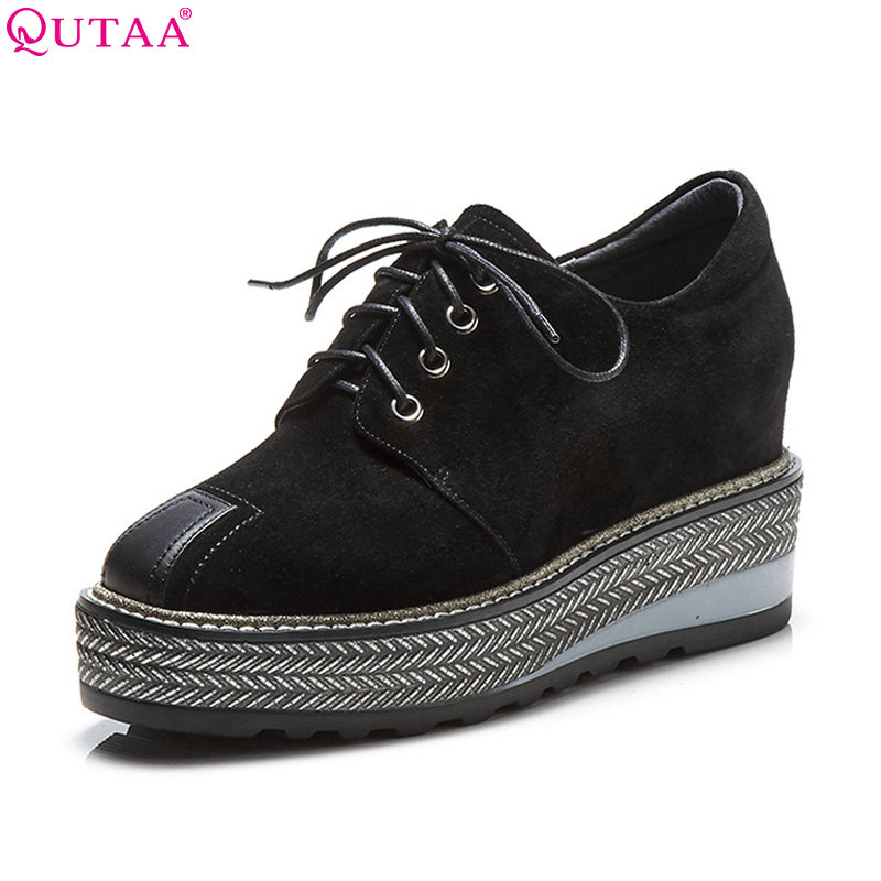 QUTAA 2018 Women Pumps Lace Up Platform Women Shoes Round Toe Wedges Heel Spring/ Autumn Fashion Ladies Pumps Szie 34-42 morazora plus size 34 42 wedges shoes med heels 4 5cm round toe single shoes fashion lace up women pumps platform