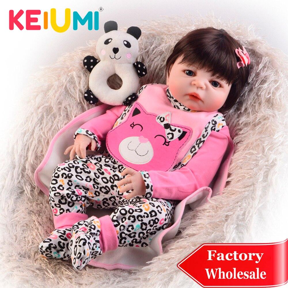 KEIUMI Wholesale Reborn Baby Vinyl Doll Full Silicone Body Lifelike Reborn Menina Boneca 23 Educational Playmates