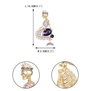 Image 5 - Tuliper Halloween Schädel Broschen Für Frauen брошь Broche Femme Meerjungfrau Pin Crown Skeleton Kristall Partei Unisex Gold Partei Schmuck