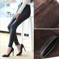 Women Winter Faux Leather Pants 2017 Thick Velvet PU Leather Warm Leggings Good Elastic Waist Slim Full Black Pants Plus Size