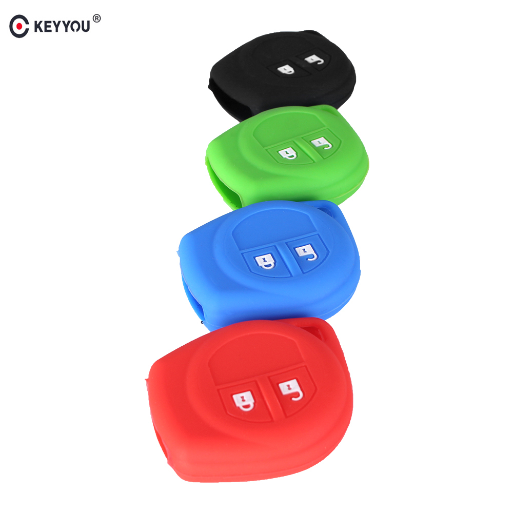 KEYYOU 2 Buttons Silicone Key Cover For SUZUKI SX4 SWIFT LIANA VITARA JIMNY ALTO IGNIS ESTEEM Remote Holder FOB Skin Cover