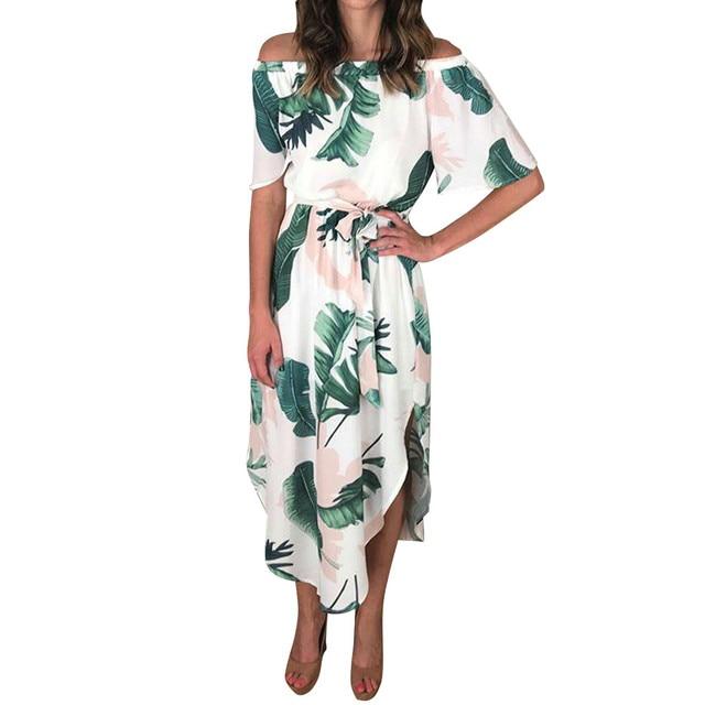 Boho Dresses Floral Leaves Print Beach Party Dress Strappy Clubwear Dresses  Spaghetti Strap Cold Shoulder kim kardashian 0e90b4452f52