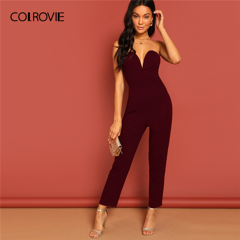 COLROVIE Burgundy Sweetheart Neck Tube Tailored Party   Jumpsuit   Women 2019 Summer Sleeveless High Waist Zipper Sexy   Jumpsuits