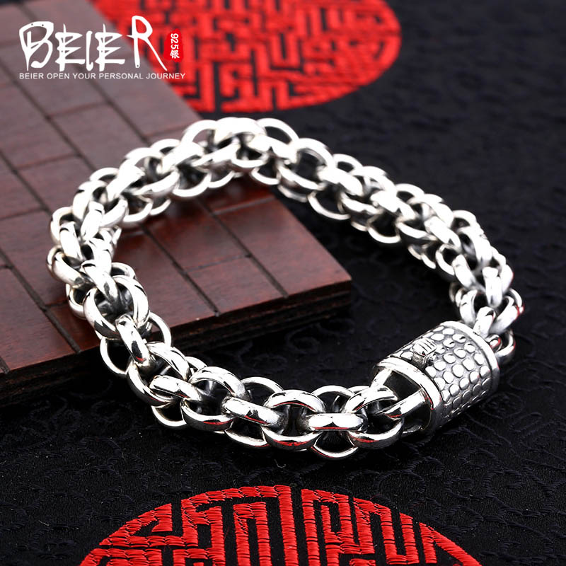 Top quality Beier 925 sterling silver bracelet high polish link chain trendy hand chain SCTYL0128Top quality Beier 925 sterling silver bracelet high polish link chain trendy hand chain SCTYL0128