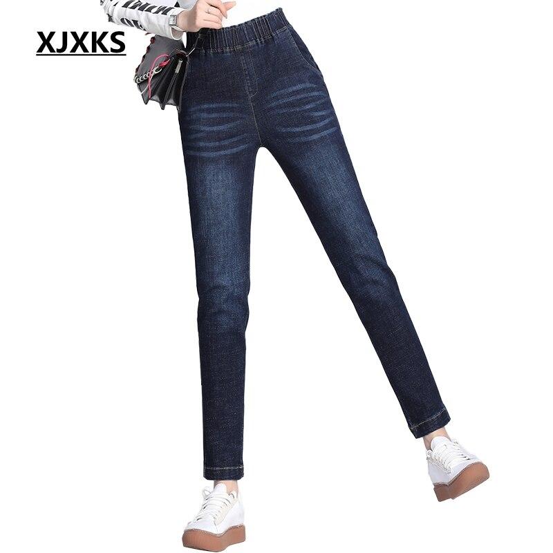 XJXKS femmes Jeans automne et hiver femmes pantalons grande taille Jeans bleu Jeans Streetwear Jeans longs mode Nova Jeans