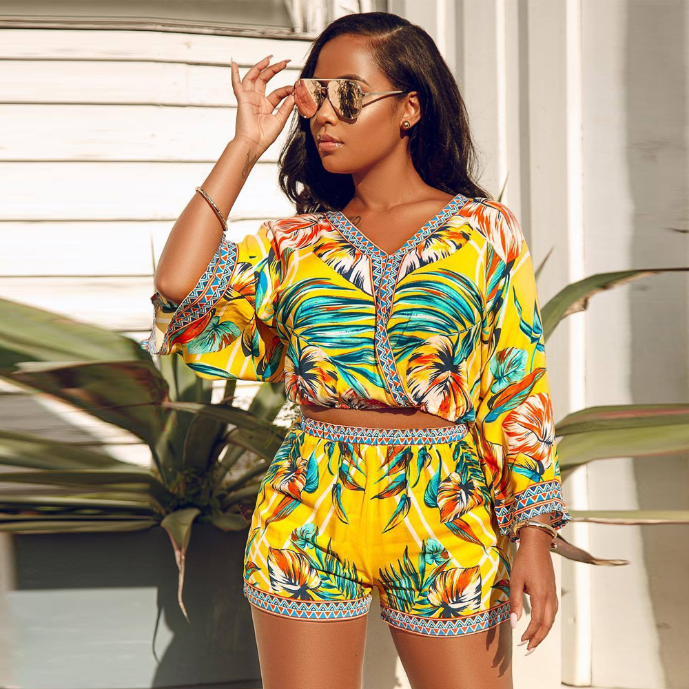 New Fashion <font><b>2019</b></font> <font><b>Summer</b></font> Bohemian Floral Print Beach Two Piece <font><b>Set</b></font> Women <font><b>Sexy</b></font> Top and <font><b>Shorts</b></font> Pants V-neck Casual Boho Wear Outfit image