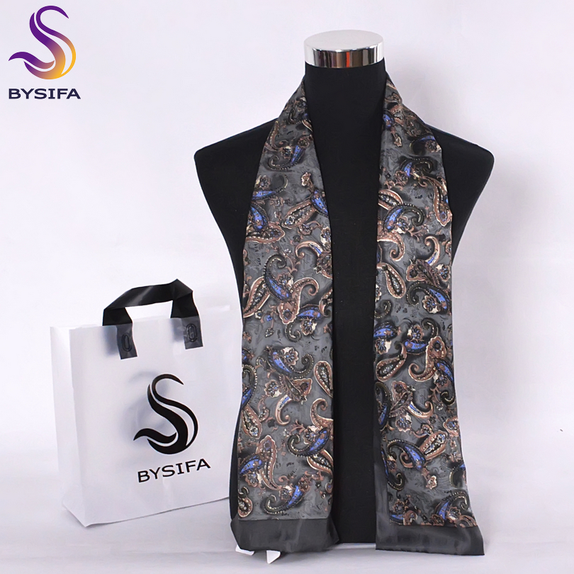 BYSIFA Men Silk Long Scarves New Fashion 100% Pure Silk Male Paisley Silk Scarf Fashion Accessories Business Scarves 160*26cm