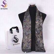 Bysifa masculino seda cachecóis longos nova moda 100% seda pura masculino paisley lenço de seda acessórios de moda negócios cachecóis 160*26cm