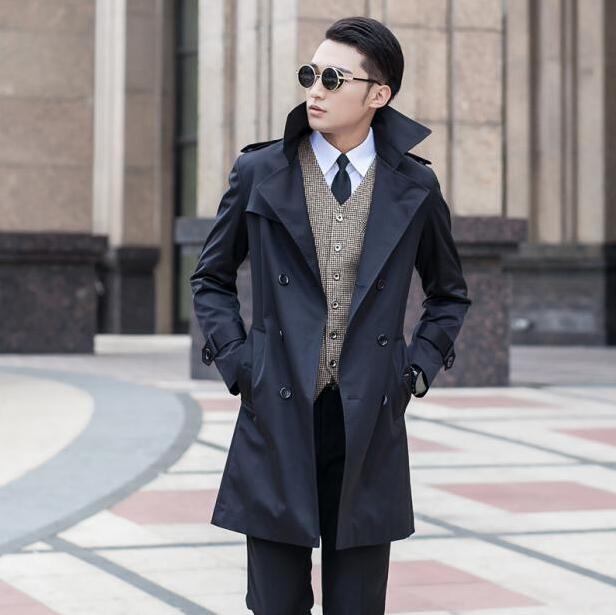 Spring 2020 Business Slim Sexy Long Trench Coat Men British Fashion Double Breasted Mens Trench Coat Overcoat Plus Size 8XL 9XL