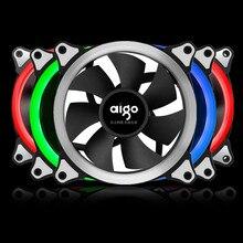 Aigo RGB Дело Вентилятор охлаждения 120 мм 6pin бесшумный вентилятор со светодиодной кольцо Регулируемый цвет корпуса вентилятор радиатора компьютер воды Кулер вентилятор 12 см