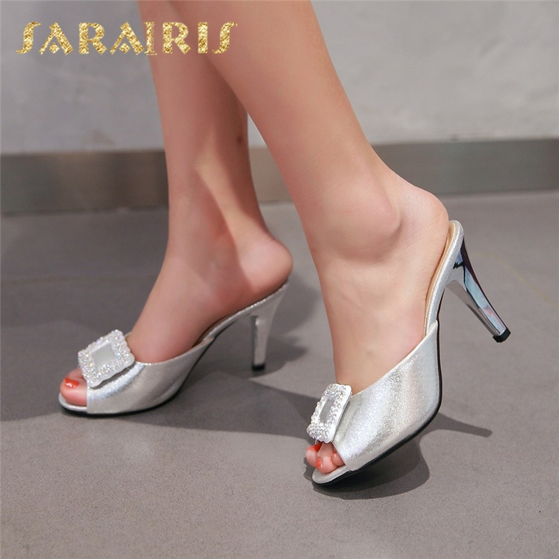SARAIRIS 2018 Large Sizes 32-43 Crystals Summer Shoes Women 7 Colors  Sexy Thin High Heels Fashion Red Mules Pumps ShoesSARAIRIS 2018 Large Sizes 32-43 Crystals Summer Shoes Women 7 Colors  Sexy Thin High Heels Fashion Red Mules Pumps Shoes