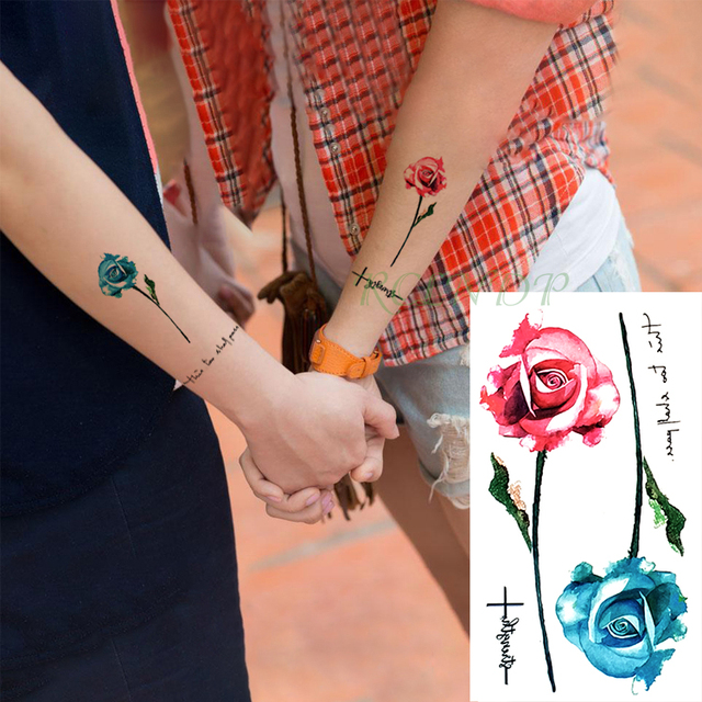 301b138de Waterproof Temporary Tattoo Stickers Red Blue Rose fake Tatto Flash Tatoo  Tatouage Body Art Hand Back