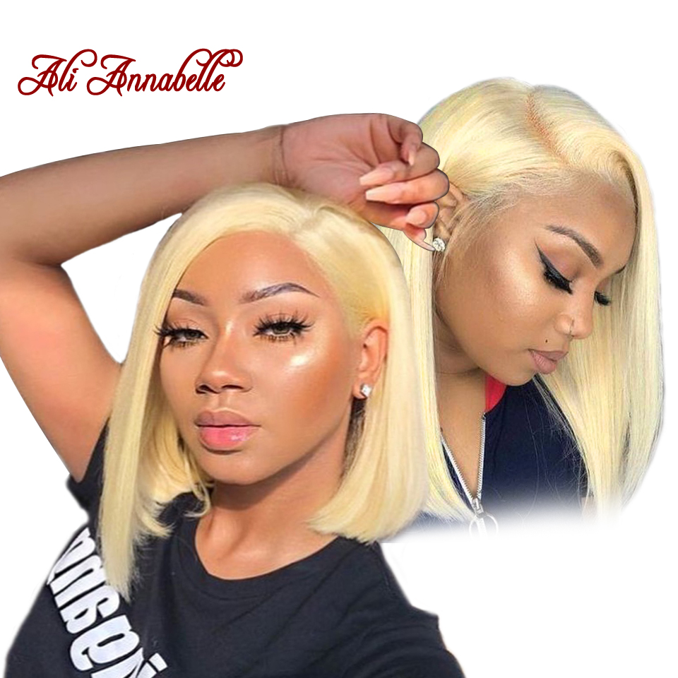 613 Straight Lace Front Human Hair Wigs with Baby Hair Pre plucked Blonde Lace Front Wig