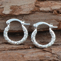 Women's Elegant Round Ring Shape Silver Ton Hoop Earrings Fashion Jewelry