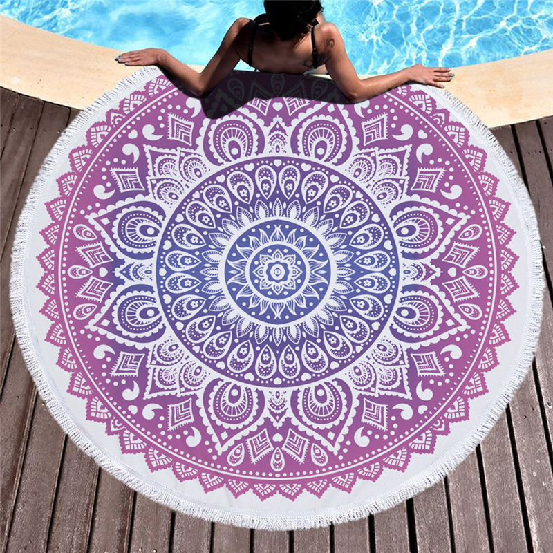 Bohemian Geometric Round Beach Towels Large Microfiber Bath Towel India Mandala Tapestry Yoga Blanket With BigTassel Picnic Mat