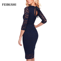 FEIBUSHI Womens Modal Solid Black Cotton Elegant Bow Lace dress Sheath half Sleeve Casual Party Bodycon Pencil Dress Vestidos