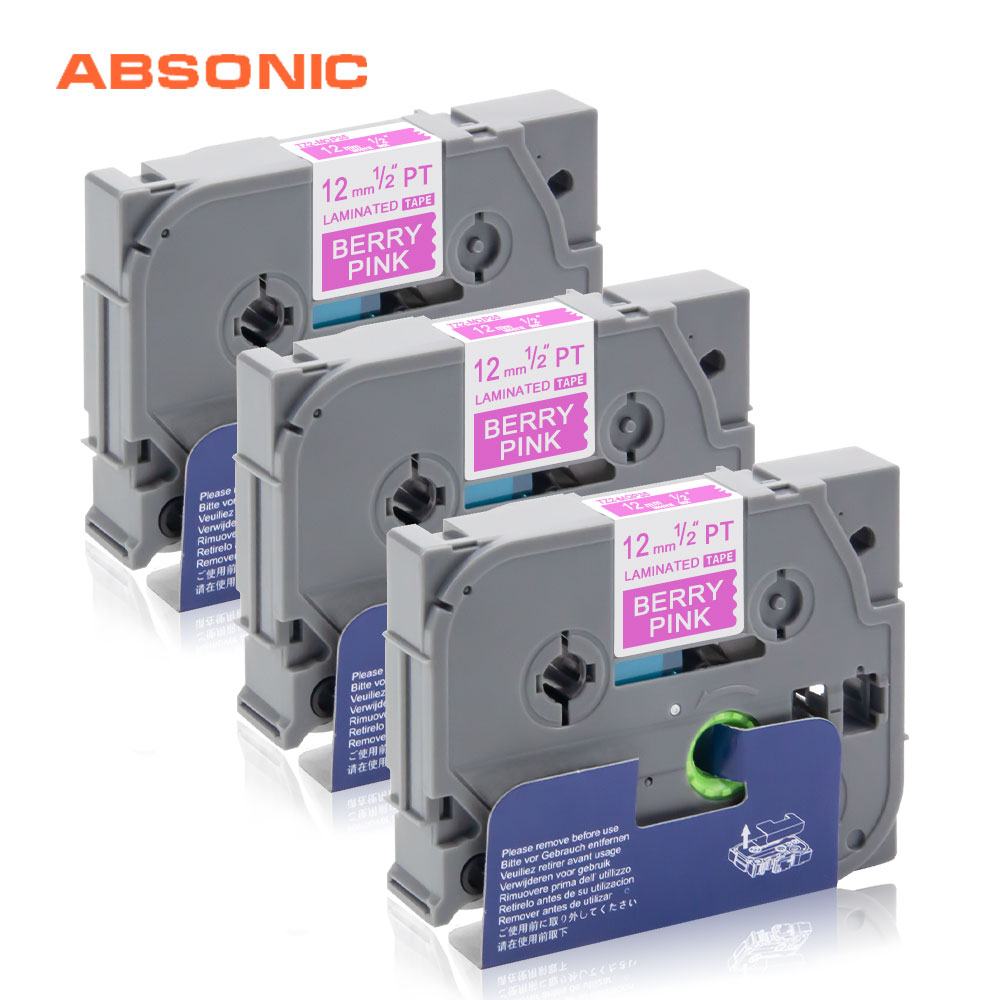Absonic 3 Pack TZe-MQP35 Lable Printer Laminated For Labeler Brother P Touch TZe Tape 12mm*5m Cassette Tapes for TZ Label Maker(China)