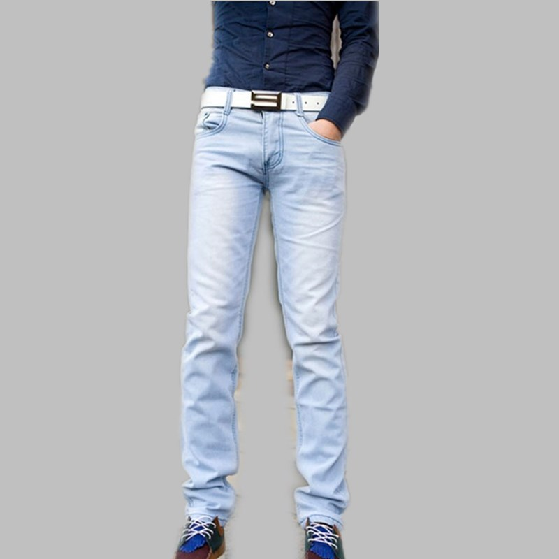 new fashion spring and summer light blue male skinny pants