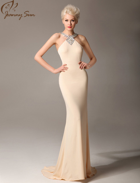 463de4b89435 Jeanny Sun Beautiful Evening Dresses with Crystal Straps Champagne Mermaid  Vestidos De Noche Largos Real Photo Long Dress JS1115