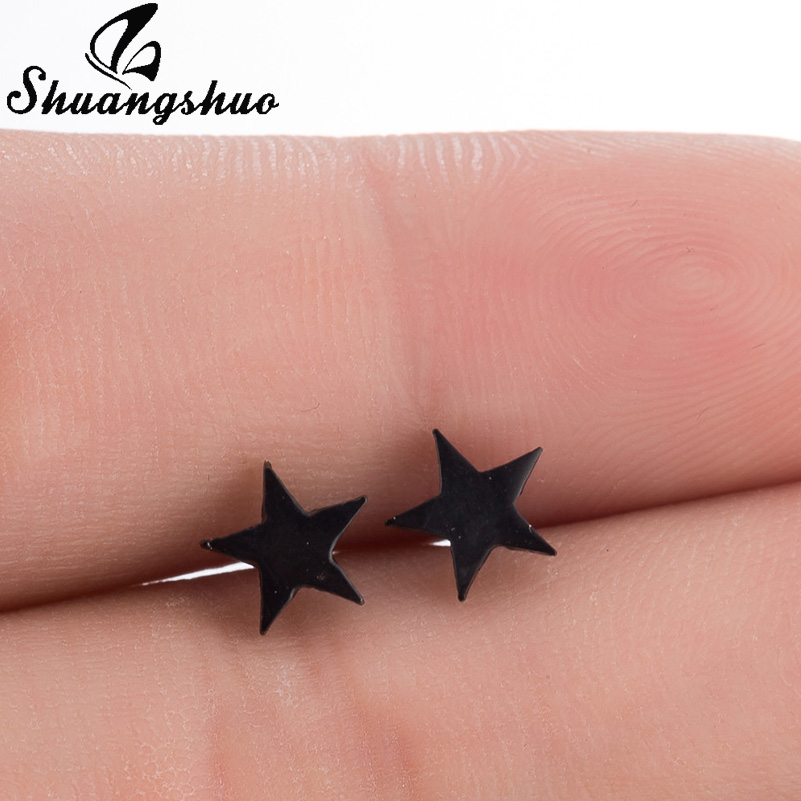 Shuangshuo Black Star Earrings For Women and Girls Stud Earrings Hot Sale Fashion Jewelry Galaxy Accessories Earing oorbellen