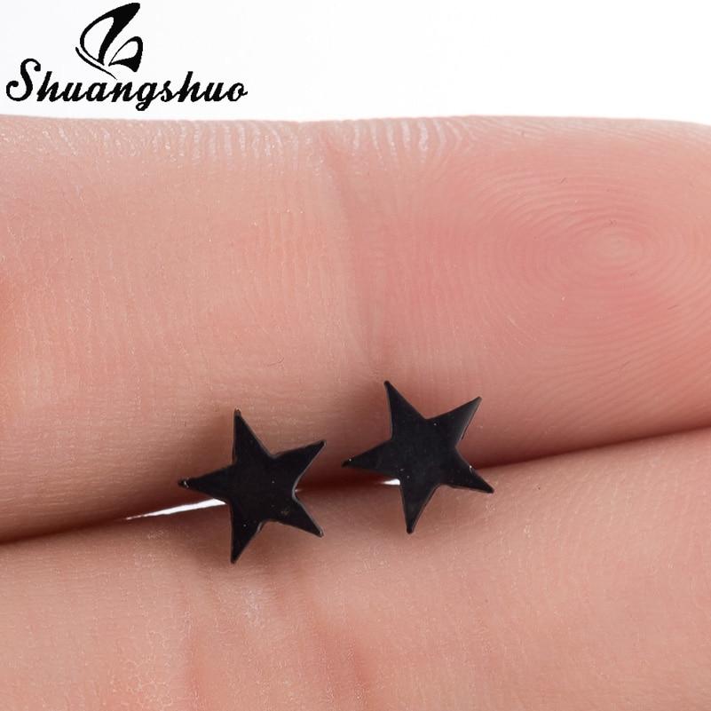 Shuangshuo Black Star Earrings For Women and Girls Stud Earrings Hot Sale Fashion Jewelry Galaxy Accessories Earing oorbellen